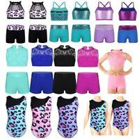 Girls Dancewear Outfit Tank Top+Shorts Leotard Gym Ballet Workout Sport Swimwear