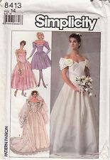 Wedding Dress Off Shoulder Variations Simplicity Sewing Pattern 8413 Uncut Sz 14