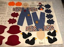 Country Scarecrow Doll Fabric Panel Cranston VIP Uncut