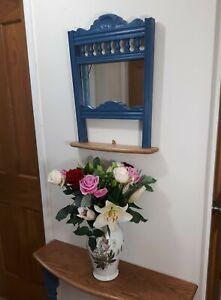 Antique Repurposed Chair Back Hall Mirror & Shelf - Antibes Blue