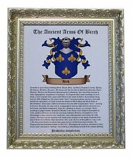 YOUR PERSONALISED  FRAMED FAMILY CREST COAT OF ARMS & SURNAME ORIGINS