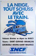 LA NEIGE TOUT SCHUSS – REDÉCOUVREZ LE TRAIN - SNCF - AFFICHE ORIGINALE  - 1970