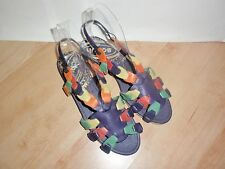 BNIB Schuh womens KAYA WEDGE multi leather slip on sandals size 3 EU 36