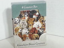JUST DOGS Absorbent Stone Coasters Set of 4