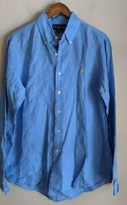 Ralph Lauren Mens Blue Long Sleeve Linen Dress Shirt size L Custom Fit Yellow Po