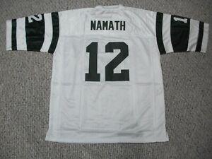 JOE NAMATH Unsigned Custom New York Sewn White Football Jersey Sizes S-3XL