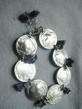 Antique Indian/Buffalo nickel bracelet /Lapis Lazuli-free earrings-nicely domed!