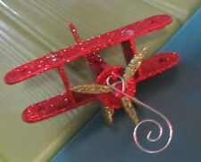 BLING RED/LIME GREEN AIRPLANE ORNAMENT DESK TABLE CHRISTMAS DECORATION GLITTER