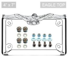 Chrome Eagle License Plate Frame & Locking Screw Cap Kit DIAMOND for Motorcycle