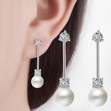 Women Fashion Jewelry 925 Sterling Silver Zircon Pearl Ear Stud Drop Earrings