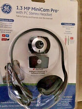 GE 1.3 MP MiniCam Pro WebCam & PC Stereo Headset With Mic 98003 NEW SEALED!!