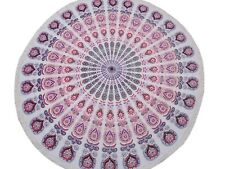Pink Peacock Fan Round Tablecloth Cotton Print Fringed Table Overlay Topper 70""