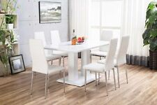 IMPERIA White High Gloss Dining Table Set And 6 Chrome Leather Dining Chairs