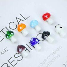 5 Mushroom Beads Lampwork Glass Miniatures Nature Pendants 16mm Assorted