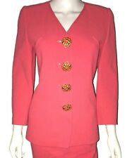 Oscar de la Renta Suit Jacket & Pencil Skirt. Size 4. Coral.Buttons.Long Sleeves