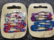 2 x pack 4 coloured floral hair bendies metal 4.7cm sleepies slides snap clips