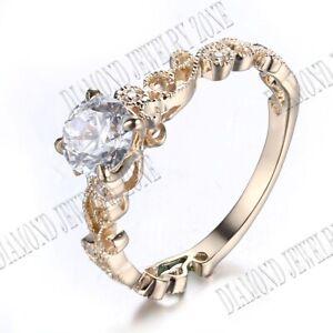 Filigree Engagement Wedding Fine Ring 14K Yellow Gold 5.5mm Round Cubic Zirconia