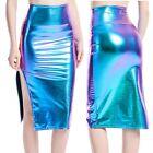 Women's Club Dress High Waist Skirt Plus Size Pencil Side Fork PU Leather Skirt