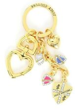 NWT Juicy Couture SHIELD Key Fob Travel Heart Chain Arrow Stone Gold-Tone Women