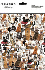 Dog Gift Wrap 2 Sheets + 2 Tags Any Occasion Puppy & Dogs Wrapping Paper Pack