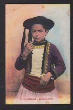 SOUVENIR DE BRETAGNE / JEUNE BRETON Fumant la PIPE en 1928