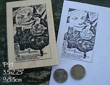 P91 Vintage Halloween card rubber stamp