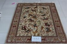 Handmade Silk Rug Carpet Traditional Hand Knotted 4x6'area Rugs Hunting Figure