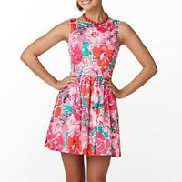 Lilly Pulitzer Hotty Pink Green White A Thing Called Love Aleesa Dress Sz 0