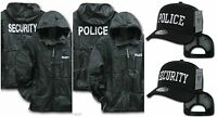 Black Security Police Windbreaker Zipper Jacket Hood Trucker Baseball Hat Cap