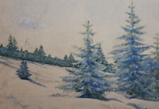 1960 MOUNTAIN FOREST LANDSCAPE GOUACHE PAINTING SIGNED