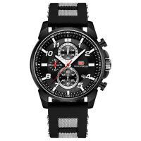 Men's Chronograph Quartz Analog Watch Luxury Rubber Band Black&Silver Dial
