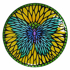 Peaktop - Outdoor 18-Inch Mosaic Butterfly Fusion Glass Bird Bath w/ Stand