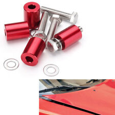 1inch CNC Hood Vent Spacer Riser Kit Red For 8MM Car Turbo Engine Motor Swap 4x