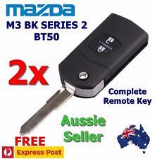 2x MAZDA 3 BK Series 2 & BT50 Transponder Chip Flip Remote Key Keyless Entry