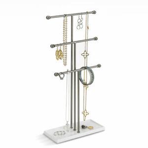 Umbra Schmuck-Ständer Schlüssel-Baum Ring-Halter Ketten-Organizer silber-weiß