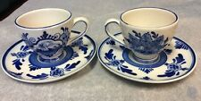 Two Hand Painted Blue Delft Tea / Espresso Cup & Saucer Pre owned