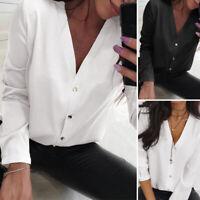 ZANZEA Women's Buttons V Neck Casual Shirt Tops Long Sleeve Loose Plain Blouse