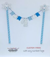 CUSTOM ANY NUMBER AGE BIRTHDAY CAKE TOPPER BUNTING FROZEN THEME BLUE SILVER SNOW