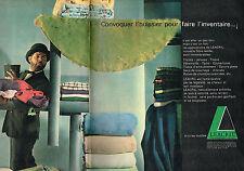PUBLICITE ADVERTISING 114  1961  LEACRIL  textile tapis couverture  ( 2 pages)