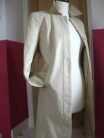 Ladies M&S cream straw real leather JACKET COAT trench UK 20 18 long line duster