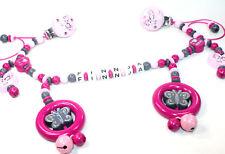 Kinderwagenkette mit Namen Schmetterling Born 2017 Mädchen rosa grau pink