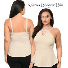 New Ladies Beige Tailored Top Plus Size 14/1XL (1111)PA