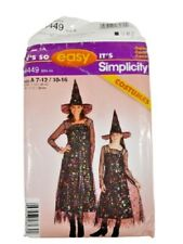 Simplicity 4449 Misses Girls Witch Costume Sewing Pattern OOP UNCUT Size 7-16