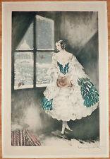 """LOUIS ICART RARE GRAVURE ORIGINALE 1927 """" MIMI """"  ORIGINAL COLOR ETCHING ++"""