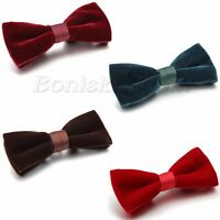 Men's Fashion Double Layer Velvet Wedding Party Bowtie Bow Tie Pre-tied Necktie