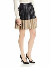NWT ROBERT RODRIGUEZ Two Tone Pleated Leather Skirt Size 8 $895