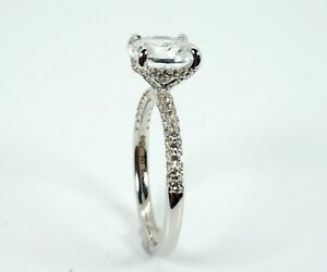 Luxury 14ct White Gold White Sapphire Solitaire Halo Ring