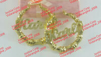 """PERSONALIZED 14K GP 2:00"""" MEDIUM BAMBOO NAME EARRINGS ANY NAME UP TO 9 LETTERS"""