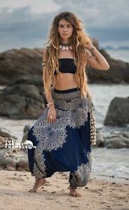 Harem Pants Blue Hippie Mandala Print Comfy Yoga Festival Aladdin Boho Gypsy