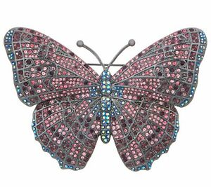QVC Joan Rivers Midnight Crystal Gunmetal Butterfly Pin $138